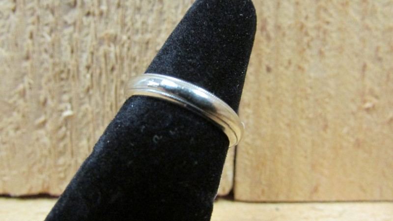 Antique Lady's Gold Wedding Band 14K White Gold 3.5g Size:6