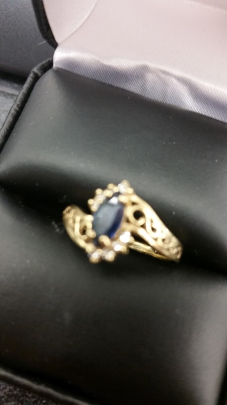 Blue Stone Lady's Stone & Diamond Ring 8 Diamonds .16 Carat T.W.