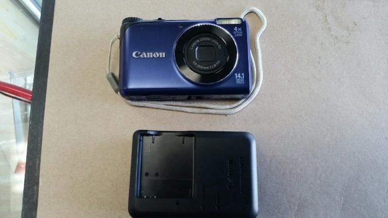 CANON BLUE HD POWERSHOT 14.1MP 720P DIGITAL CAMERA, #A2200