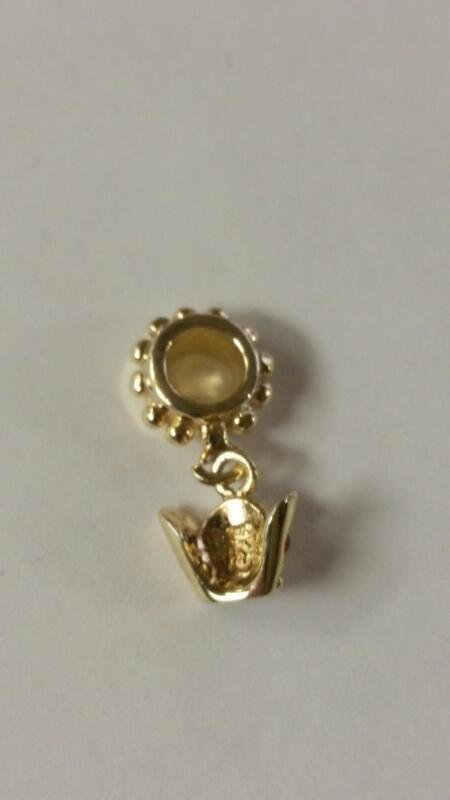 Sterling Silver Gold Toned Dangle Crown European Bead Charm