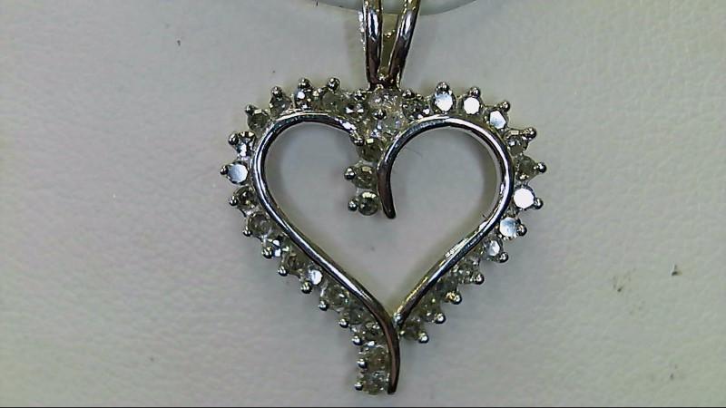 Multi Diamond Heart White Gold 10K Pendant WG