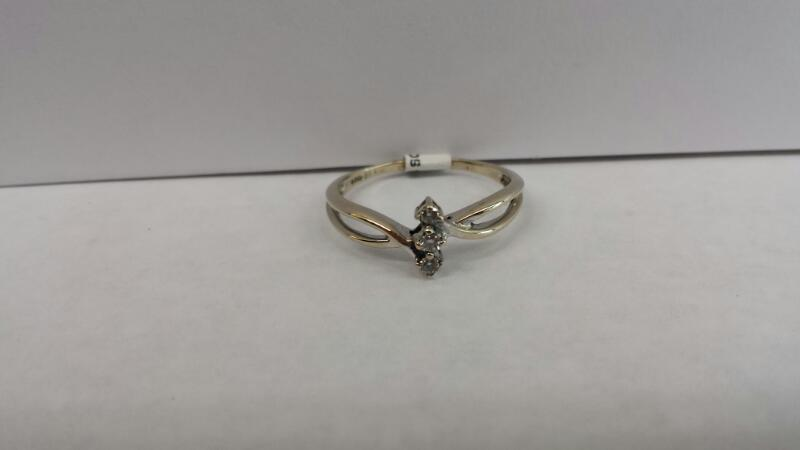 14k White Gold Ring with 3 Diamonds