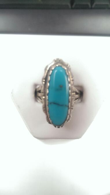 Turquoise Lady's Silver Ring 925 6.6g Size:6.5