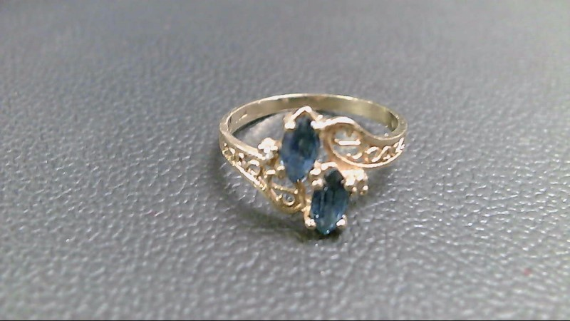 Blue Stone Lady's Stone Ring 10K Yellow Gold 1.4g