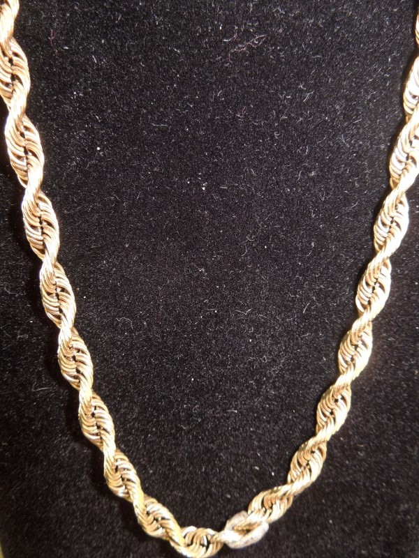 """24"""" Gold Rope Chain 10K Yellow Gold 20.9g"""