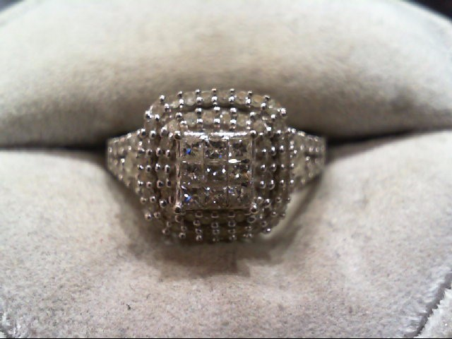 Lady's Diamond Engagement Ring 75 Diamonds .97 Carat T.W. 10K White Gold 3.6g