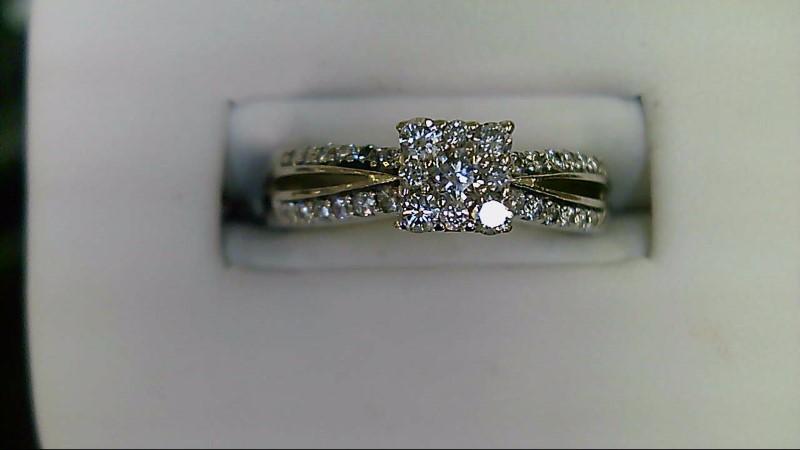 Lady's Diamond Engagement Ring 33 Diamonds .50 Carat T.W. 14K White Gold 4.2g