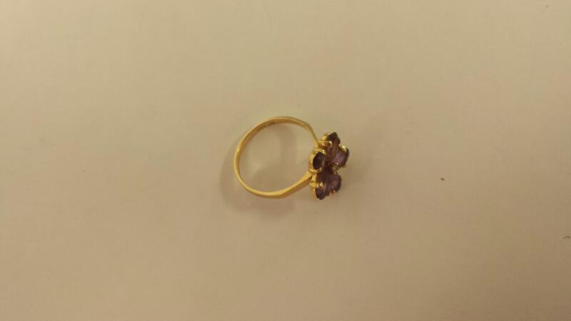 Synthetic Amethyst Lady's Stone Ring 14K Yellow Gold 1.5dwt Size:6