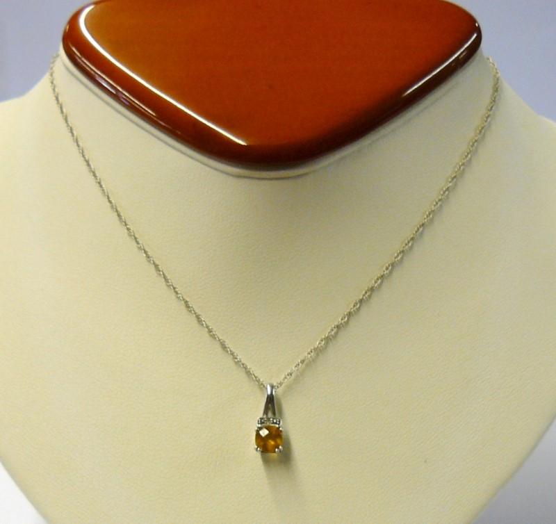 """18"""" Citrine Stone Necklace Vermeil 1.09dwt"""