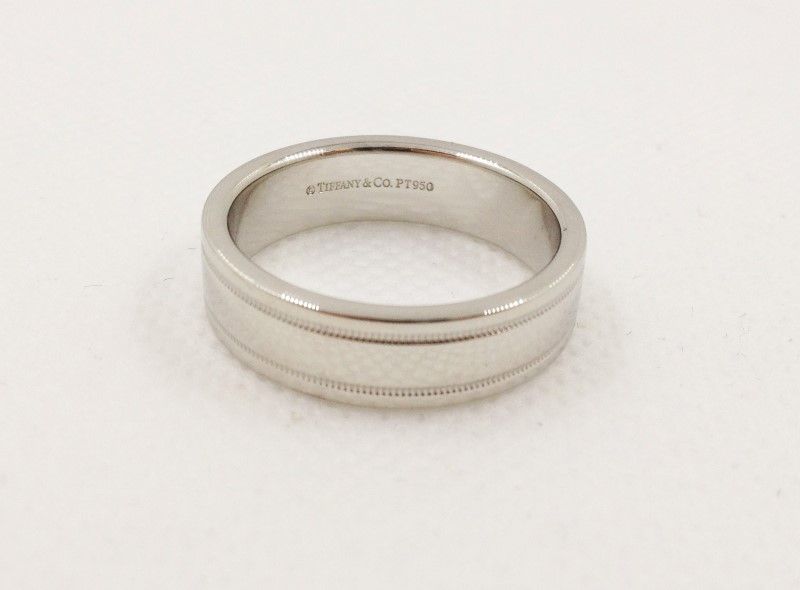 Tiffany & Co. Double Milgrain Platinum Wedding Band 14.4g Size:10