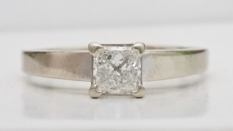 Princess Cut Diamond Solitaire Ring .47ct in 14K White Gold *Read*