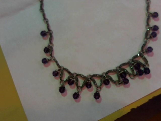 Purple Stone Stone Necklace 925 Silver 33.8g