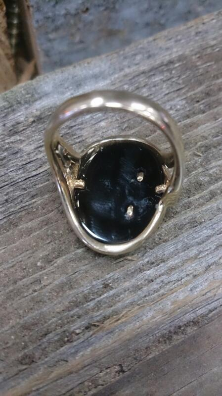 Onyx Stone & Diamond Ring lady with birds
