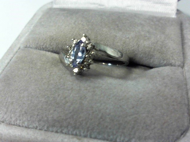 Tanzanite Lady's Platinum-Diamond & Stone Ring 10 Diamonds .10 Carat T.W.