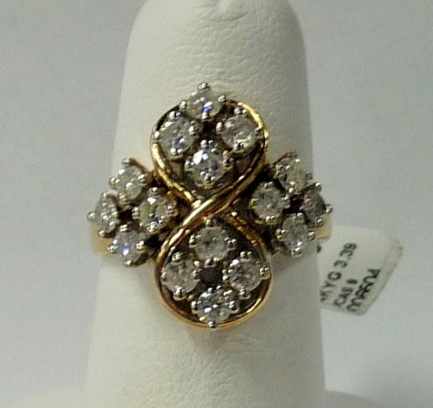 Lady's Diamond Fashion Ring 16 Diamonds 1.60 Carat T.W. 14K Yellow Gold 3.39dwt