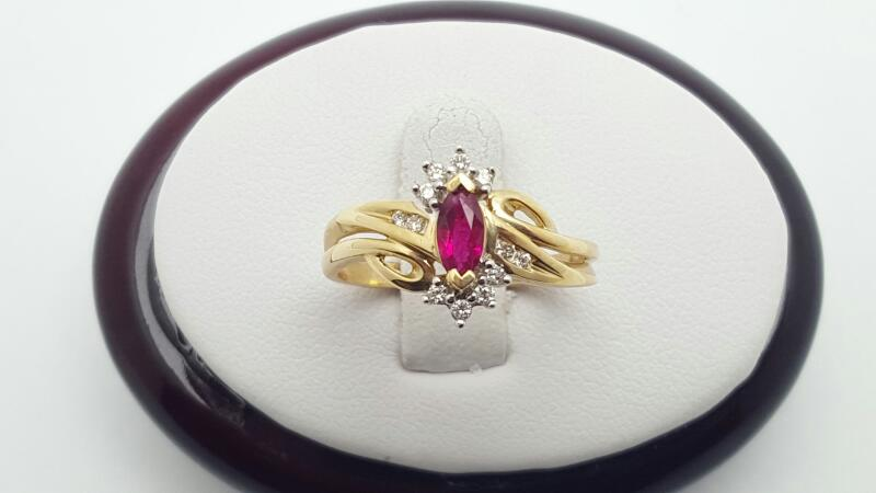 Ruby Lady's Stone & Diamond Ring 12 Diamonds .12 Carat T.W. 14K Yellow Gold 2.9g