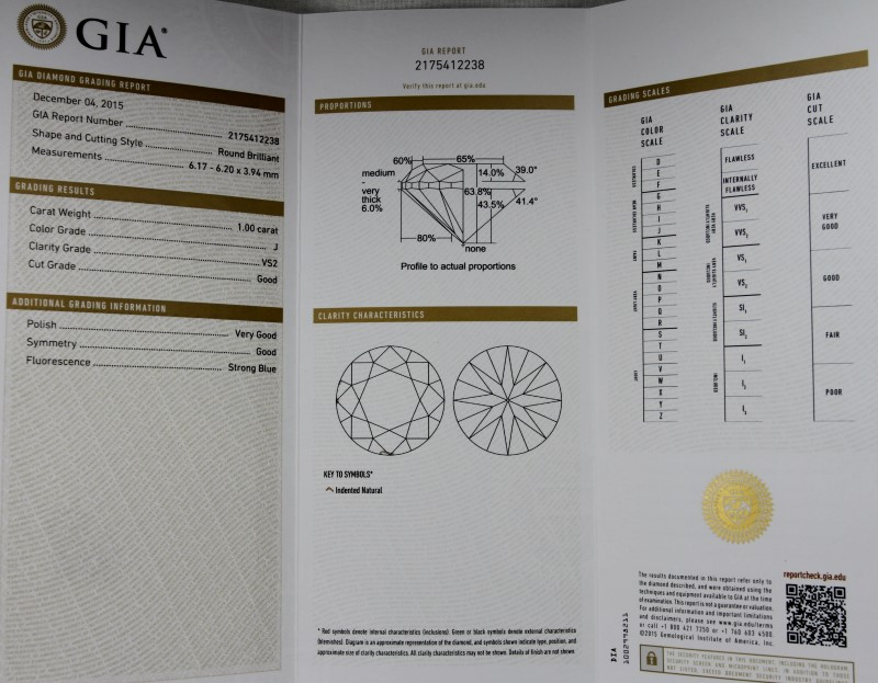 GIA CERTIFIED 1.00CT ROUND DIAMOND J IN COLOR VS2 IN CLARITY