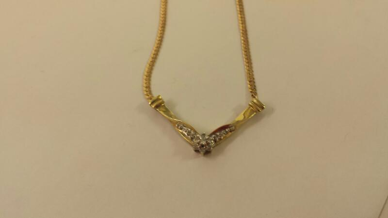 Diamond Necklace 11 Diamonds .18 Carat T.W. 10K Yellow Gold 2.4dwt