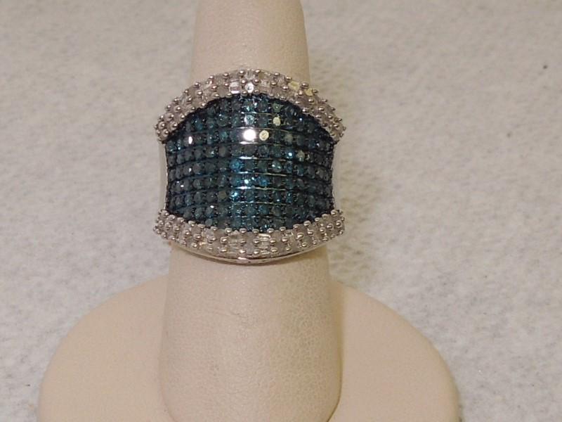 Lady's Silver-Diamond Ring 176 Diamonds 4.60 Carat T.W. 925 Silver 8.5g Size:5