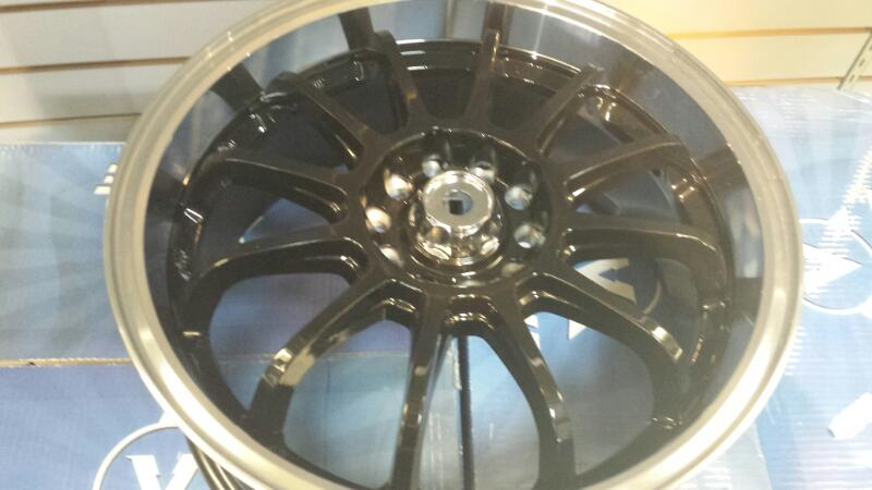 16x7 Vline Wheels Model V812 Glossy Black Lip 4.25 Bolt Set of 4