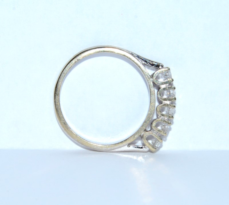 14K White Gold 5 Diamond Cathedral Set Wedding Ring Band Size: 4.75