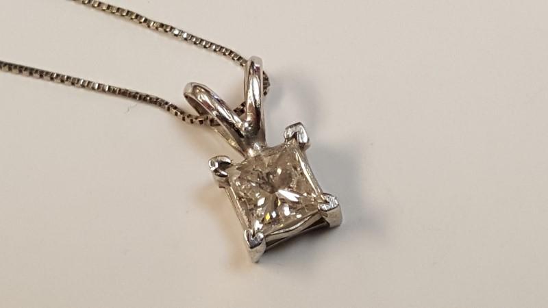 "25"" Diamond Necklace .63 CT. 14K White Gold 2.1g"
