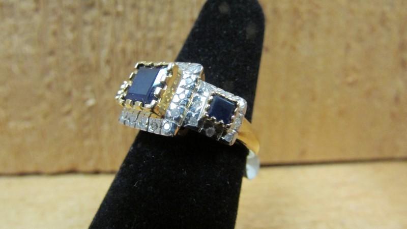 Synthetic Blue Stone Lady's Stone & Diamond Ring 32 Diamonds 0.32 Carat T.W. 14K