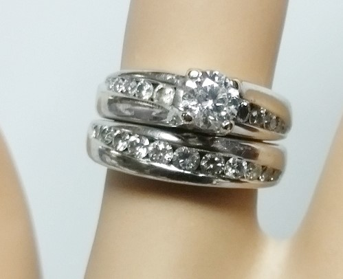 I.G.I Certified 1.5TCW Diamond 14K White Gold Engagement Wedding Set