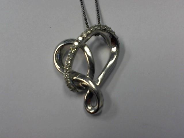 "18"" Diamond Necklace 19 Diamonds .19 Carat T.W. 925 Silver 4.4g"