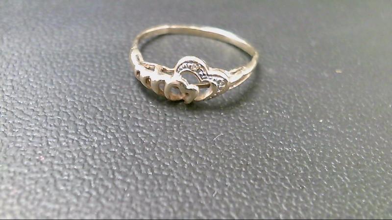 Lady's Diamond Cluster Ring 2 Diamonds .002 Carat T.W. 10K Yellow Gold 1.3g