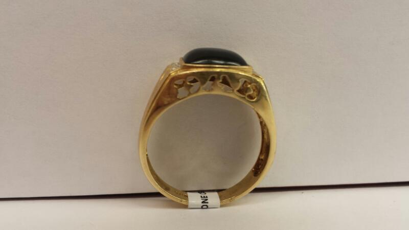 "10k Yellow Gold Ring with 1 Black stone and 4 Diamond chips, ""Dad"" on side"