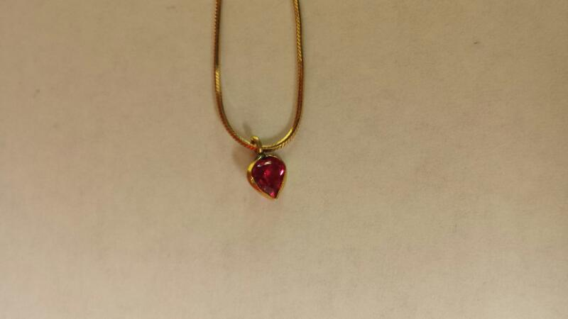 "14k 11.5"" Yellow Gold Chain With Trillion Pink Stone"
