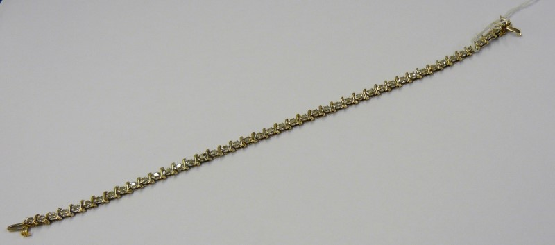 Gold-Diamond Bracelet 45 Diamonds .45 Carat T.W. 14K Yellow Gold 3.8dwt