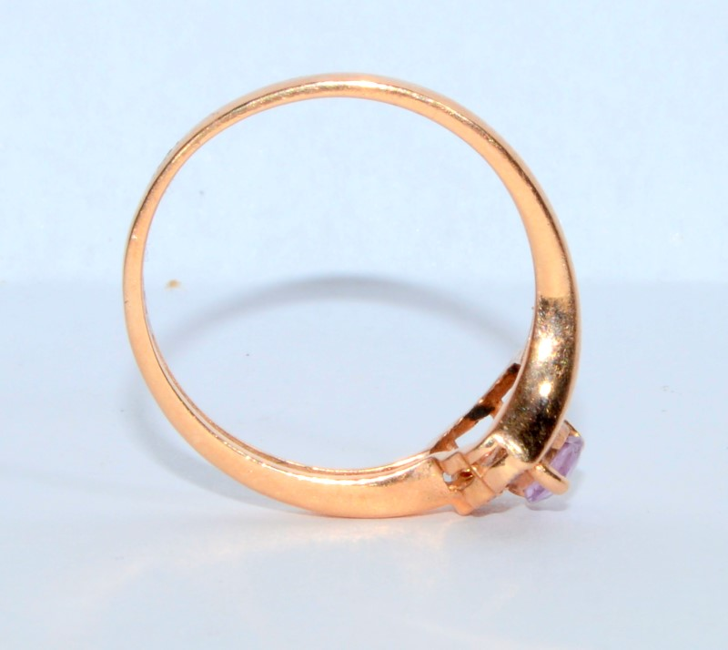 10K Rose Gold Dainty Bypass Shank Pear Shaped Pink Sapphire Shield Ring sz 7