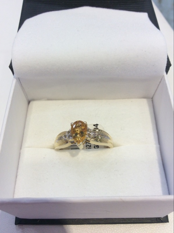 Citrine Lady's Stone & Diamond Ring 6 Diamonds .12 Carat T.W. 10K Yellow Gold