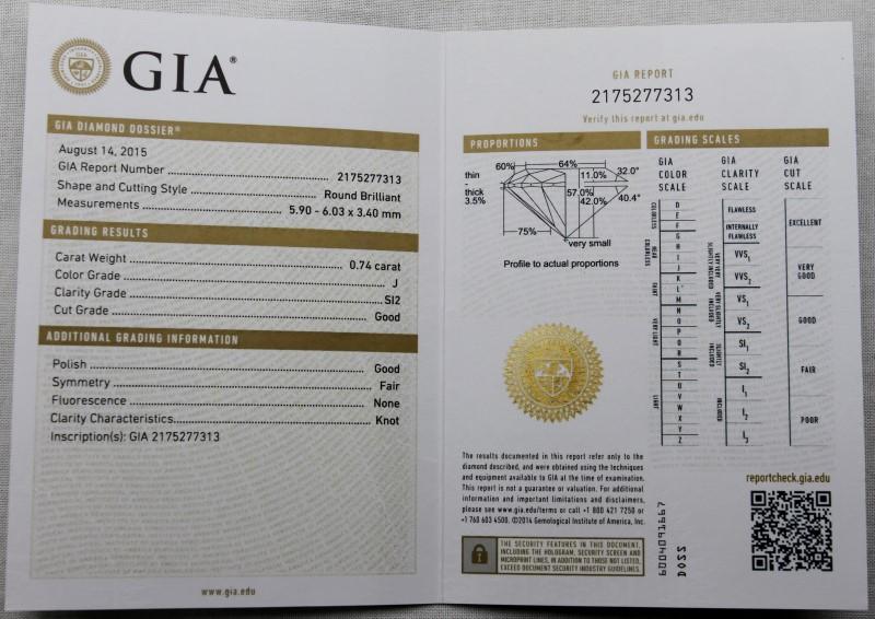 GIA CERTIFIED 0.74CT ROUND DIAMOND J-SI2