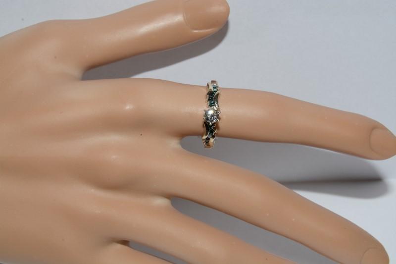 14K White Gold Unique Blue & White Diamond Engagement Ring Size 8