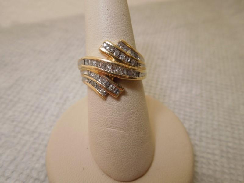 Lady's Diamond Cluster Ring 40 Diamonds .56 Carat T.W. 10K Yellow Gold 5.2g