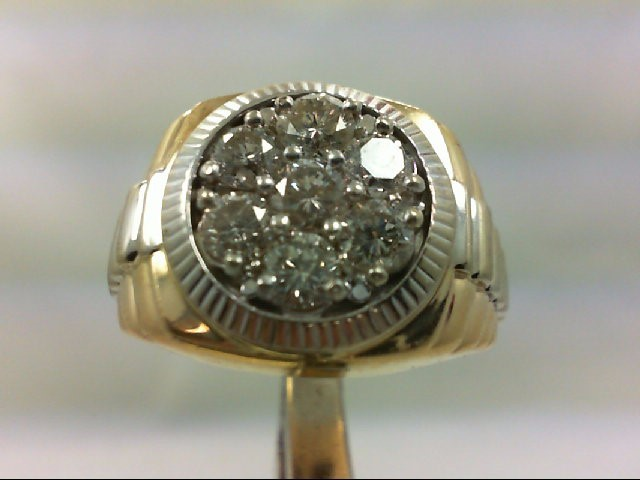 Gent's Diamond Cluster Ring 7 Diamonds 1.50 Carat T.W. 14K Yellow Gold 17.72g