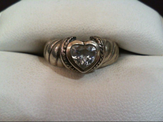 Lovely Lady's Silver Heart Ring w/ Nice Heart Cubic Zirconia Gem 925 Silver 3.8g