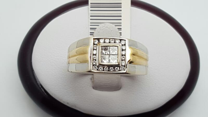 Gent's Diamond Fashion Ring 24 Diamonds .88 Carat T.W. 14K 2 Tone Gold 9.6g
