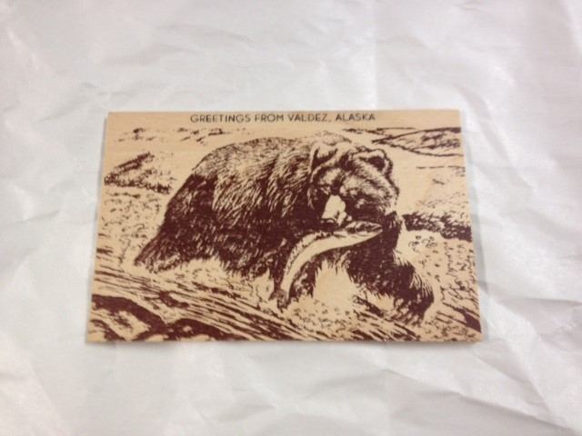 WOOD POSTCARD-BEAR WITH SALMON-GREETINGS FROM VALDEZ