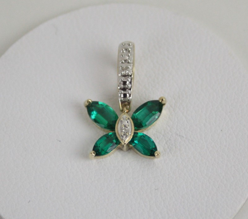 Synthetic Emerald & Diamond Butterfly Pendant 14KT YG