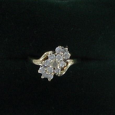 Lady's Diamond Cluster Ring 12 Diamonds .48 Carat T.W. 14K Yellow Gold 2.5dwt