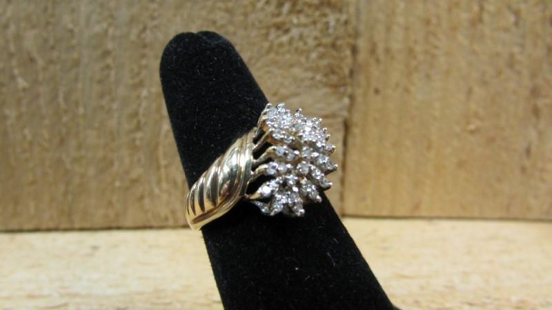 Lady's Diamond Cluster Ring 43 Diamonds 0.43 Carat T.W. 10K Yellow Gold 4.4g