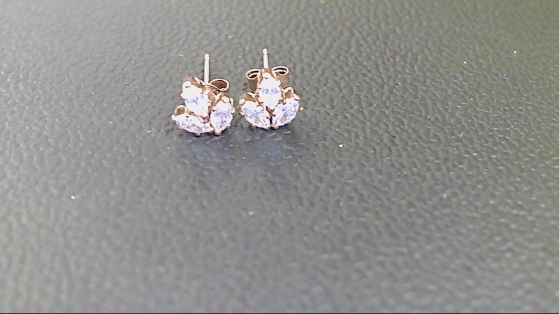 Synthetic Cubic Zirconia Gold-Stone Earrings 10K Yellow Gold 0.05g