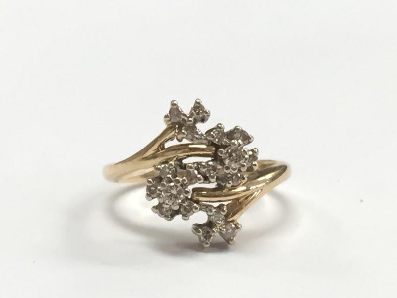 WOMEN'S 14K YELLOW GOLD, DIAMOND CLUSTER RING, SIZE 7.5