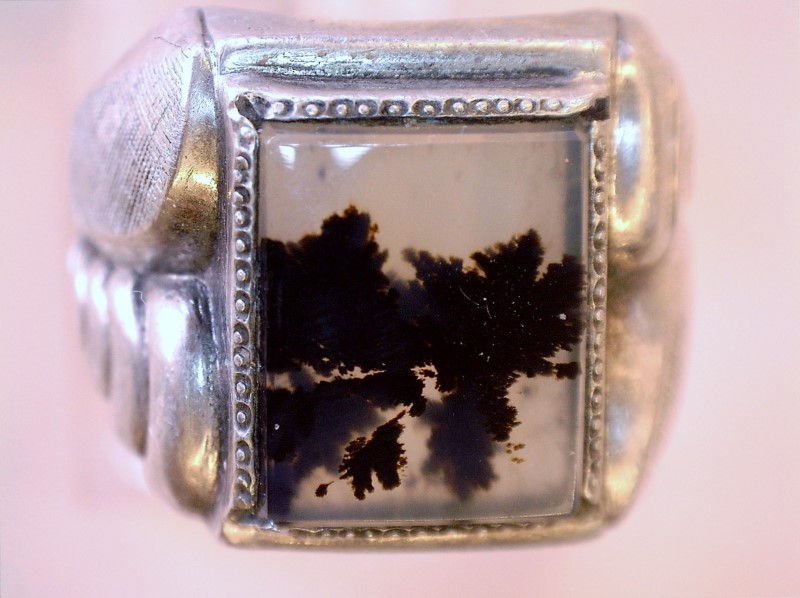 Synthetic Agate Lady's Silver & Stone Ring 925 Silver 4.48dwt Size:6.3