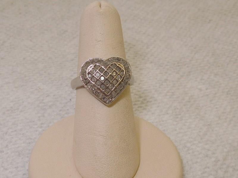 Lady's Silver-Diamond Ring 49 Diamonds 1.19 Carat T.W. 925 Silver 4.1g Size:5