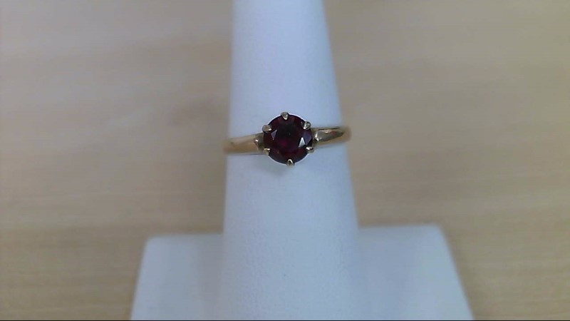 Synthetic Ruby Lady's Stone Ring 10K Yellow Gold 1.52g